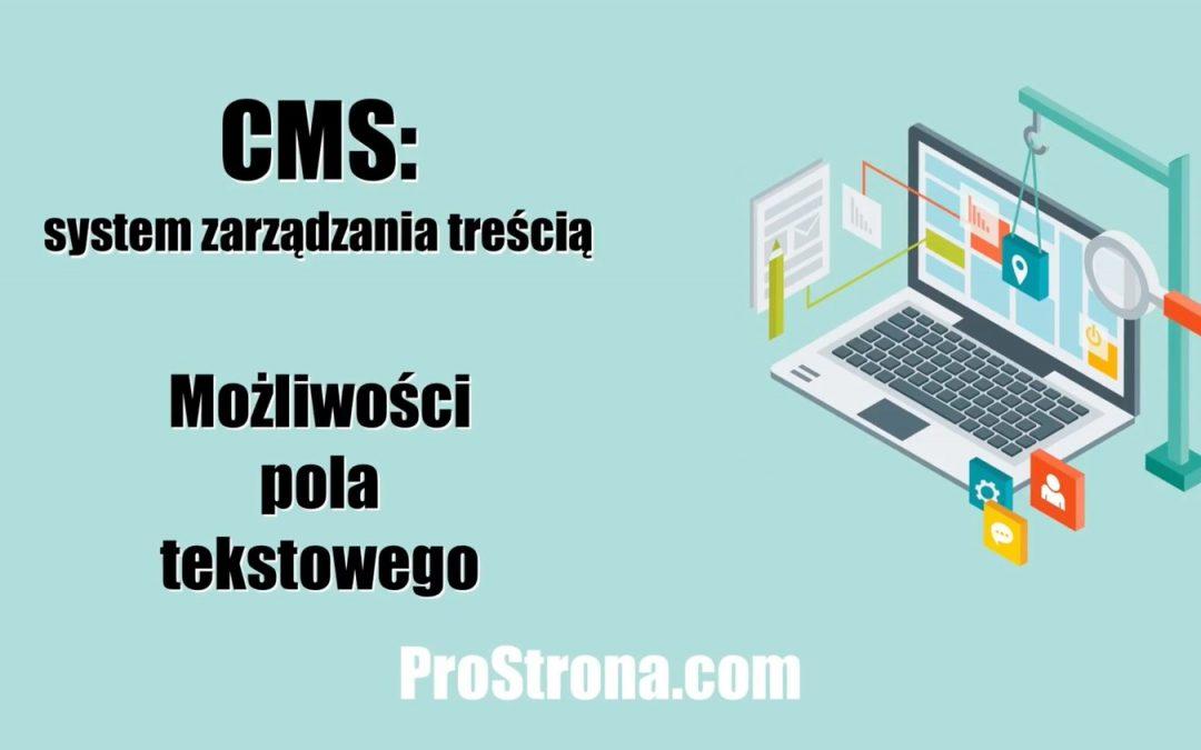 Podstawowy CMS – Możliwości pola tekstowego